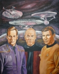 William Shatner Painting Posters - Star trek tribute Enterprise Captains Poster by Bryan Bustard