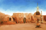 Sunset Posters Digital Art Posters - Star Wars Film Set Tatooine Tunisia Poster by Michael Greenaway