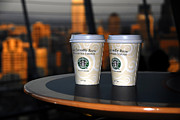 Space Needle Art - Starbucks at the Top by David Lee Thompson