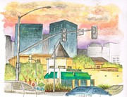 Watercolors Painting Originals - Starbucks-Beverly-Hills-Century-City-CA by Carlos G Groppa