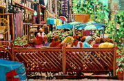 Outdoor Cafes Posters - Starbucks Cafe On Monkland Montreal Cityscene Poster by Carole Spandau