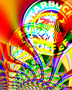 Coffee Shops Posters - Starbucks Coffee In Abstract Poster by Wingsdomain Art and Photography