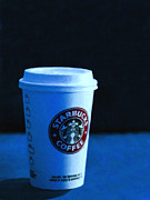 Coffee Shops Posters - Starbucks Coffee - Painterly - Blue Poster by Wingsdomain Art and Photography