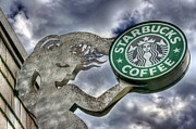 Italian Cafe Prints - Starbucks Coffee Print by Spencer McDonald
