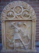 Church Reliefs - St.Archangel Mihail killing the dragon wall sculpture by Goran Gecovski