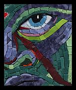 Fantasy Glass Art - Stare Down - Fantasy Face No.14 by Gila Rayberg
