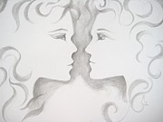 Sisters Drawings - Staredown by Marat Essex