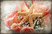 Closeup Mixed Media - Starfish And Pink Roses by Andee Photography