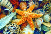 Sea Shell Digital Art Posters - Starfish Impressionism Poster by Carmen Del Valle