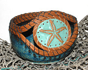 Ceramic Mixed Media - Starfish Pine Needle Pottery by Lisa Sowers
