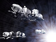 Warp Prints - Stargate Spaceships Print by Christian Darkin