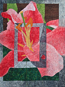 Fabric Quilts Tapestries - Textiles Posters - Stargazer Lilly Poster by Patty Caldwell