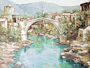Serene Drawings Prints - Stari Most Bridge over the Neretva river in Mostar Bosnia Herzegovina Print by Joseph Hendrix