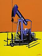 Oil Pumps Prints - Stark Reality - Blue Print by Sonja Olson