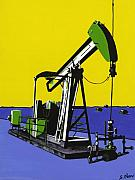 Oil Pumps Prints - Stark Reality - Green Print by Sonja Olson