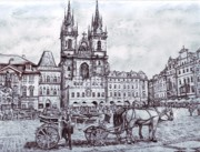 Prague Drawings Framed Prints - Staromestske namesti Framed Print by Gordana Dokic Segedin