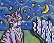 Skyscrapers. Painting Posters - Starry Cat Poster by Sarah Crumpler