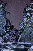 Snowy Night Photo Framed Prints - Starry Creek Framed Print by Brandon Broderick