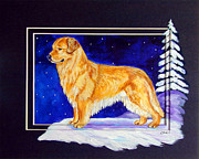 Puppies Painting Originals - Starry Night - Golden Retriever - original by Lyn Cook