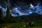 Landscape Digital Art Posters - Starry Night Poster by Alex Ruiz
