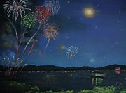 Fireworks Pastels Prints - Starry Night at Crooked Creek Marina Print by Jackie  Hill