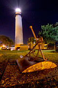 St. Simons Island Art - Starry Night Big Light by Debra and Dave Vanderlaan