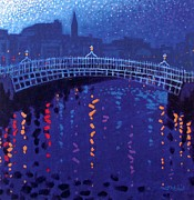 Skyline Painting Posters - Starry Night In Dublin Poster by John  Nolan