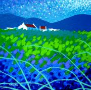 Acrylic. Green Prints - Starry Night In Wicklow Print by John  Nolan