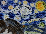 Homework Paintings - Starry Night of Homework by K Ryan Henisey