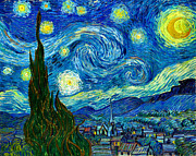 Moonlight Paintings - Starry Night by Pg Reproductions