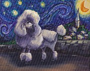 Poodle Paintings - Starry Night Poodle by Robin Wiesneth