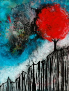 White Posters - Starry Night Red Tree Abstract Landscape Poster by Sharon Cummings
