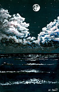 Stary Sky Posters - Starry Night Seascape Poster by Kyle Gray