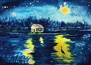 Lakeside Paintings - Starry Night by Sharon Mick