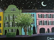 Rainbow Row Paintings - Starry Rainbow Row by Osee Koger