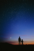 Stargazing Prints - Starry Sky And Stargazers Print by David Nunuk