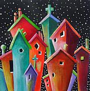 Chimneys Originals - Starry Starry Night in the Little City Number Four by Janet  Telander