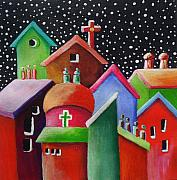 Chimneys Originals - Starry Starry Night in the Little City Number Three by Janet  Telander
