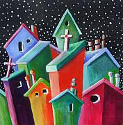 Chimneys Originals - Starry Starry Night in the Little City Number Two by Janet  Telander