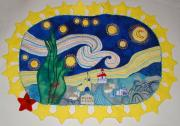 Night Tapestries - Textiles - Starry starry night over Oswego NY by Catherine ONeil