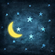Blue Art Photo Prints - Stars And Moon Drawing With Chalk Print by Setsiri Silapasuwanchai