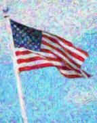 American Flag Mixed Media Prints - Stars and Stripes Print by Colleen Kammerer