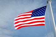 Stars And Stripes Posters - STARS AND STRIPES flagpole and waving USA flag Poster by Andy Smy