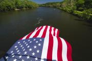 Stars And Stripes Flies Over The Delaware River Print by George Oze