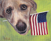 Patriotic Paintings - Stars and Stripes Furr-ever by Robin Wiesneth