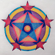 Mandala Drawings - Stars of the Pentagon Mandala by Brian  Commerford