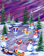 Ice Hockey Paintings - Stars On Ice by Jill Alexander