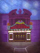 Stars Pastels Posters - Stars over Broadway Poster by Lisa Anne Riley