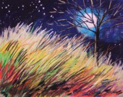 Full Moon Pastels - Stars Over Grasses by John  Williams