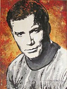 Star Drawings Metal Prints - Starship Enterprise Captain Kirk Metal Print by Eric Dee